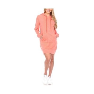 ホワイトマーク ワンピース トップス レディース Women's Hoodie Sweatshirt Dress Light Pink