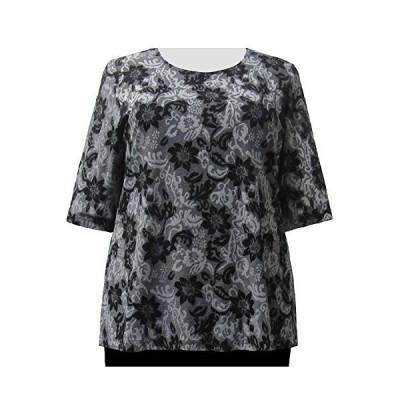 個人用のタッチグレー花柄の女性プラスサイズニットセーター US サイズ: 4X カラー: グレー並行輸入品 送料無料