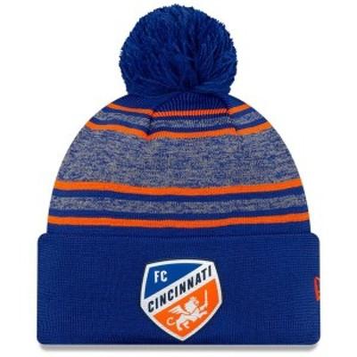 ニューエラ メンズ 帽子 アクセサリー FC Cincinnati New Era On-Field Collection Cuffed Knit Hat with Pom Blue