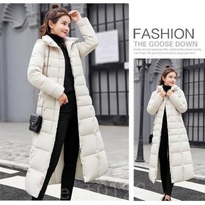 中綿コートレディースふわふわファー付きSIダウン風コートロング丈厚手アウター暖かいキルティングコート防寒通勤