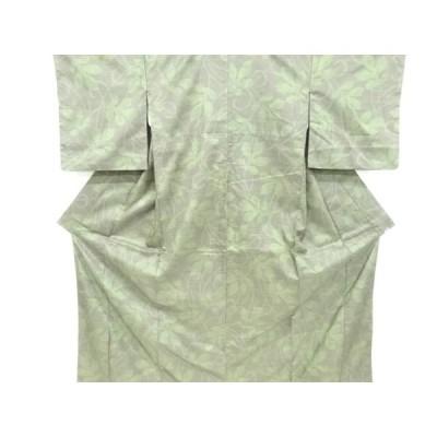 リサイクル 草葉模様織り出し西陣お召着物