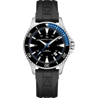 Hamilton 漢米爾頓 卡其海軍機械錶-黑膠帶/40mm H82315331