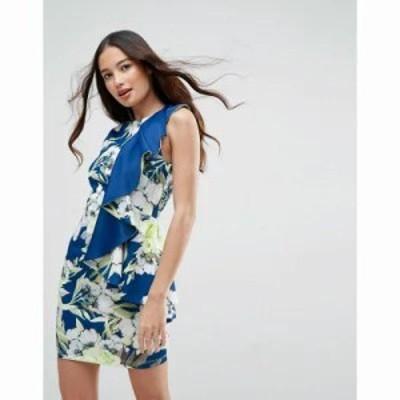 エイソス ワンピース ASOS Bright Floral Ruffle Scuba Mini Dress Multi