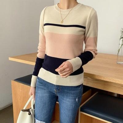 『韓国製』 長袖 ボーダー柄 ニット チュニック ドレープ ドルマン セーター 大きいサイズ 30代 40代 50代 ファッション 秋 冬 ファッション