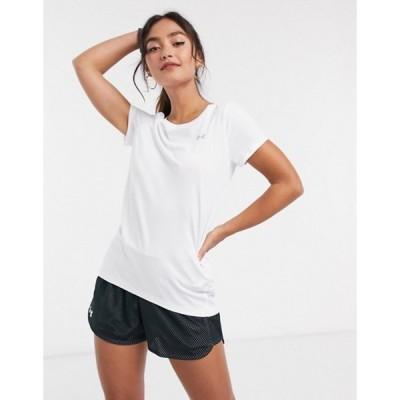 アンダーアーマー レディース シャツ トップス Under Armour Training HeatGear t-shirt in white