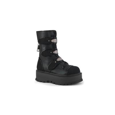 ファッション レディース 厚底 ブーツ Blk Vegan Leather-Canvas Demonia デモニア SLACKER−101 slk101-bvl-ca お取り寄せ商品