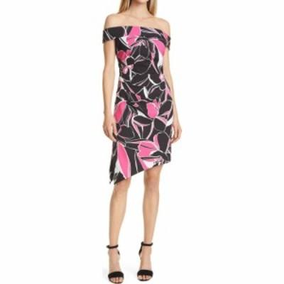 ミリー MILLY レディース ワンピース ワンピース・ドレス Ally Floral Off-the-Shoulder Asymmetrical Hem Sheath Dress Black Multi