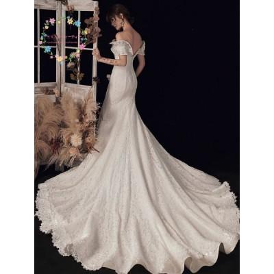 二次会 ウエディング 二次会ドレス 花嫁ドレス ワンピース 旅行 海外挙式 マーメイドライン 結婚式 花嫁 ウェデイングドレス イブニングドレス 安い 撮影