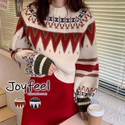 冬柄 ニット レディース ノルディック柄 セーター トップス クルーネック コクーン袖 黒 赤 白 韓国