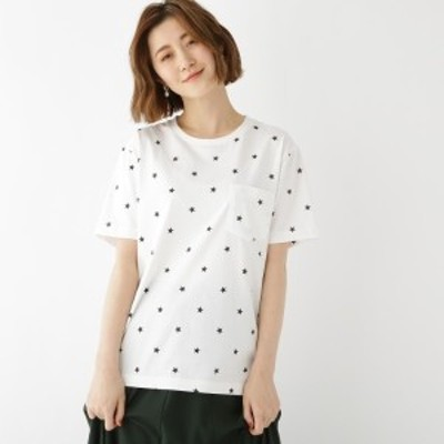 ベース ステーション(レディス)(BASE STATION Ladies)/ohcool スター総柄 半袖 Tシャツ