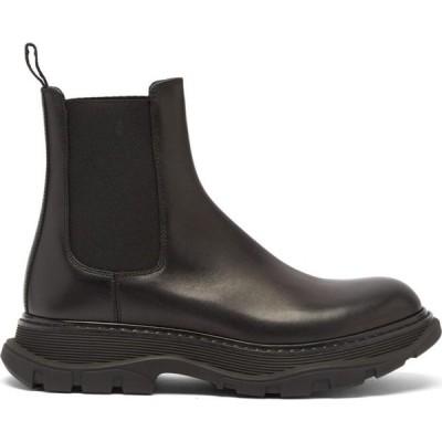 アレキサンダー マックイーン Alexander McQueen メンズ ブーツ チェルシーブーツ シューズ・靴 Raised-sole leather Chelsea boots Black