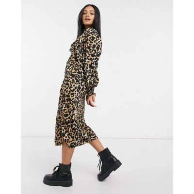 エイソス レディース ワンピース トップス ASOS DESIGN high neck midi dress with shirred cuffs in leopard print Leopard print