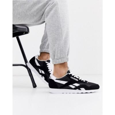 リーボック Reebok メンズ スニーカー シューズ・靴 Classic nylon trainers in black ブラック