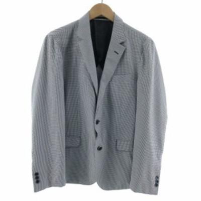 【中古】L.Willcocks ジャケット テーラード シングル 2B 洗える ギンガムチェック ネイビー 紺 ホワイト 白 M メンズ