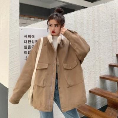 ボア コート ミリタリー ジャケット ポケット付き 大きいサイズ アウター カジュアル ゆったり 無地 スタンドカラー もこもこ 秋冬 冬服