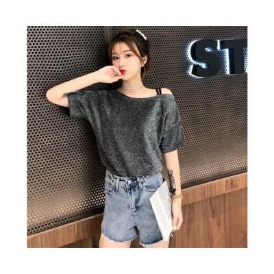 肩出し 半袖 Tシャツ 無地 カットソー シャツ ス トレッチ ランドネック Tシャツ 伸縮性あり 大きいサイズ トップス S-2XLサイズ 二枚送料無料