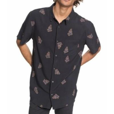 Quiksilver クイックシルバー ファッション アウター Quiksilver NEW Gray Mens Size XL Printed Button Down Short-Sleeve Shirt