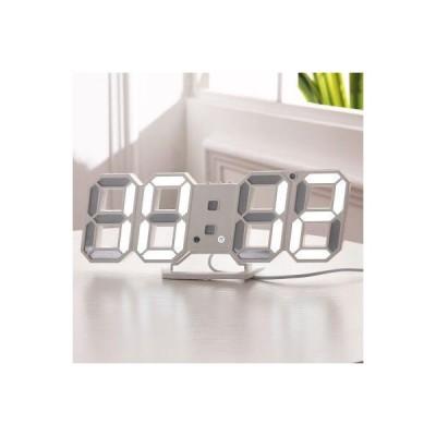 LED デジタル時計 置き時計 壁掛け 卓上時計 温度計 ホワイト 白 北欧 インテリア おしゃれ 目覚まし時計 3D ライト 照明器具 多機能 USB電源 雑貨 ウォール