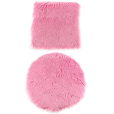 2本 人工ウールラグ ふわふわ フロアカーペット マット 柔らかい シートクッション 豪華 全4セット - ピンク