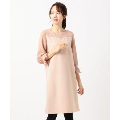 Feroux エレガンスプリーツスリーブ ドレス (ピンク系)