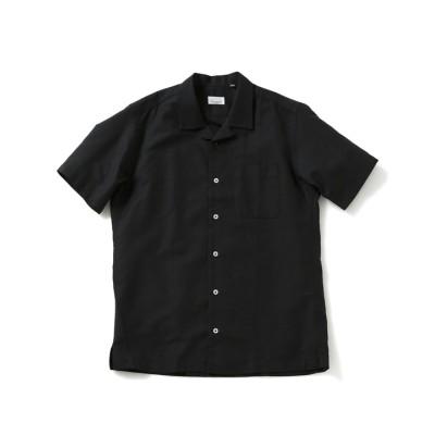 コットンリネンオープンカラーショートスリーブシャツ