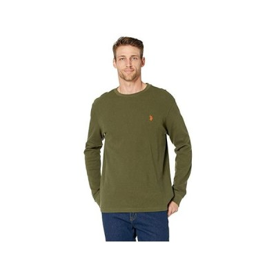 U.S. POLO ASSN. Long Sleeve Crew Neck Solid Thermal Shirt メンズ シャツ トップス Rifle Green