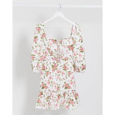レア レディース ワンピース トップス Rare London milkmaid lace up floral dress in multi Multi