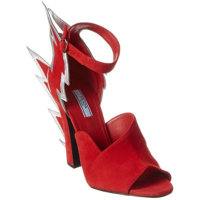 プラダ サンダル シューズ レディース Prada Thunderbolt Ankle Strap Suede Sandal red suede