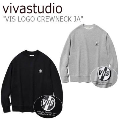 ビバスタジオ トレーナー vivastudio メンズ レディース VIS LOGO CREWNECK JA ロゴ クルーネック GREY グレー BLACK ブラック JAVT28 ウェア