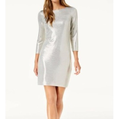 Jessica Howard ジェシカハワード ファッション ドレス Jessica Howard NEW Silver Womens 6 Metallic 3/4 Sleeve Sheath Dress