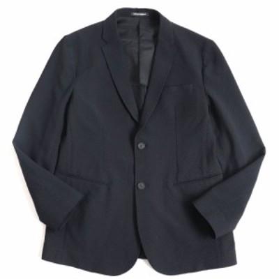 極美品▽2019年製 黒タグ エンポリオ アルマーニ 41G620 シアサッカー アンコンジャケット ブラック 50 イタリア製 ハンガー・ガーメント
