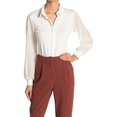 ティー・タハリ レディース Tシャツ トップス Woven Long Sleeve Button Down Shirt IVORY
