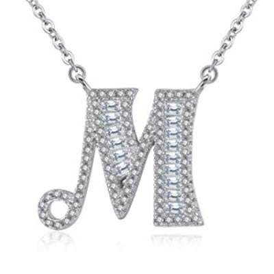 VIKI LYNN Letter M Initial Necklace 925 Sterling Silver Cubic Zirconia Personalized Gifts for Women Girls