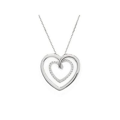 Quality Jewels ダイヤモンドハートペンダントネックレス 925スターリングシルバー ハートネックレス レディース/ガールズ 18インチ