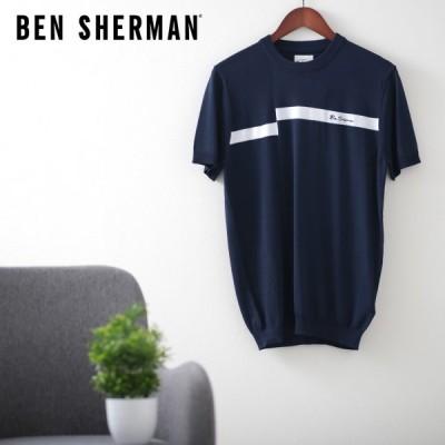ベンシャーマン メンズ ニット Tシャツ オフセット ストライプ Ben Sherman ミッドナイト レギュラーフィット