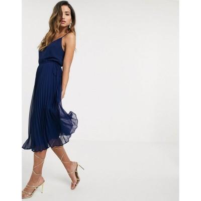 エイソス ミディドレス レディース ASOS DESIGN pleated cami midi dress with drawstring waist in navy エイソス ASOS ネイビー 藍
