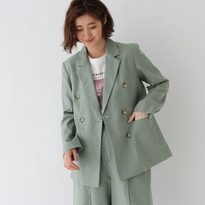 エージー バイ アクアガール AG by aquagirl 【WEB限定Lサイズあり】コットンリネンダブルボタンジャケット (ライトグリーン)