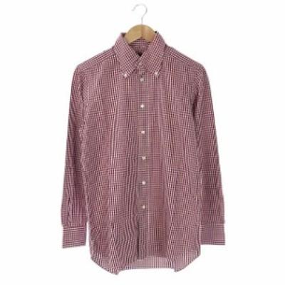 【中古】トゥモローランド ギンガムチェックシャツ ボタンダウン 長袖 40 赤 ワインレッド 白 /ES ■OS メンズ