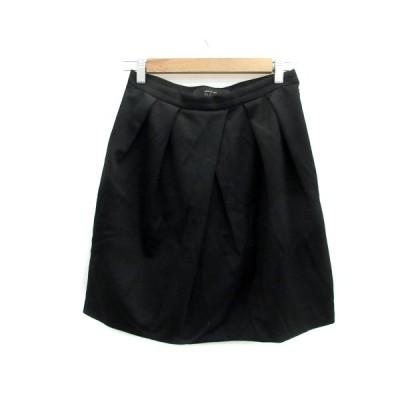 【中古】スピック&スパン ノーブル Spick&Span Noble スカート 台形 ギャザー ひざ丈 無地 ウール 黒 ブラック /YS6 レディース 【ベクトル 古着】