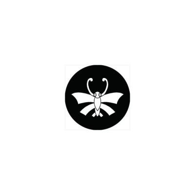 家紋シール 反り胡蝶紋 直径4cm 丸型 白紋 4枚セット KS44M-2622W
