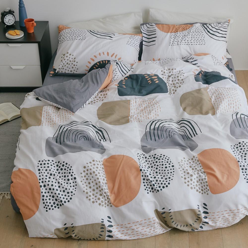 床包被套組(薄被套)-雙人 / 100% 精梳純棉 / 時雨