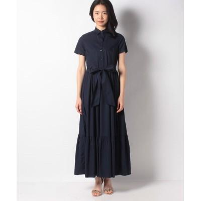 (BENETTON (women)/ベネトン レディース)シャツ型切り替えロングワンピース/レディース ネイビー
