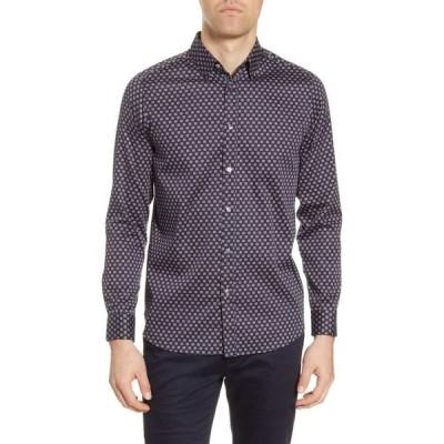 テッドベーカー TED BAKER LONDON メンズ シャツ トップス Posee Medallion Print Button-Up Shirt Navy
