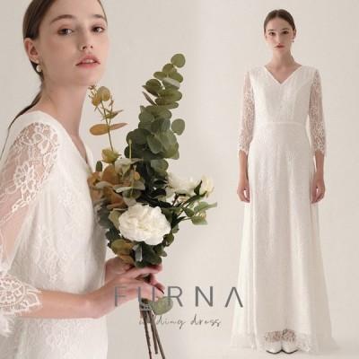 ウエディングドレス 購入 袖あり 白 安い 花柄レース 花嫁 二次会 結婚式 披露宴 フォトウエディング