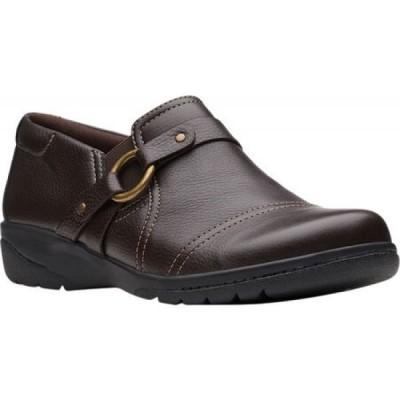 クラークス Clarks レディース スリッポン・フラット シューズ・靴 Cheyn Fame Slip-On Dark Brown Tumbled Leather