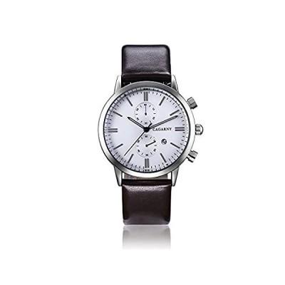 【新品】Cagarny元メンズスポーツレザーストラップ日付クォーツ腕時計6821ブラウン