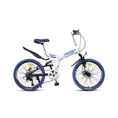 Xilinshop Outdoor Bike Blue Folding Mountain Bike Bicycle Men and Women Variable Speed Ultra Light Portable Bicycle 7 Speed Beginner-Level t