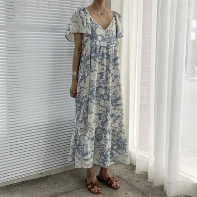 半袖ロング丈ワンピース ロングワンピー vネック 後ろリボン ゆったり レディース 花柄 韓国ファッション