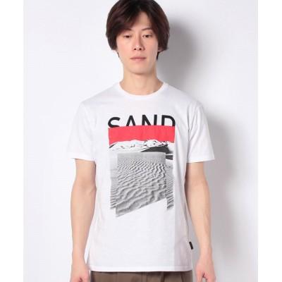 (SISLEY/シスレー メンズ)コットンプリント半袖Tシャツ・カットソー/メンズ ホワイト