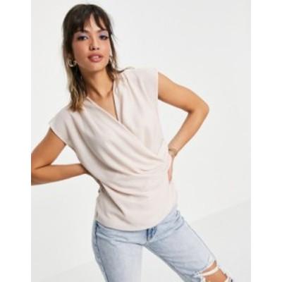 エイソス レディース シャツ トップス ASOS DESIGN sleeveless drape wrap blouse in blush Blush